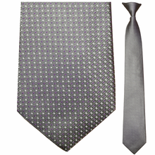 Men's Silk Narrow Grey w/ Purple + White Dots Clip-On Tie