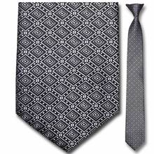 Men's Narrow Monochrome Diamond Pattern Clip On Tie