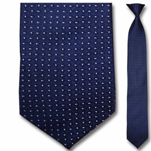 Men's Silk Narrow Navy w/ White Dots Clip On Tie
