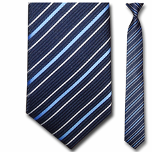 Men's Narrow Woven Navy Striped Clip On Tie
