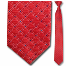 Men's Narrow Red Grid Pattern Clip On Tie