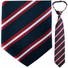 "Mens Woven Navy and Red Stripe 19"" Zipper Tie"