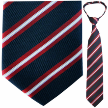 "Mens Woven Navy and Red Stripe 21"" Zipper Tie"