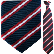 Mens Navy + Red Stripe Clip On Tie