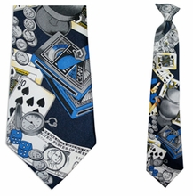 Mens Navy Casino Theme Clip On Necktie
