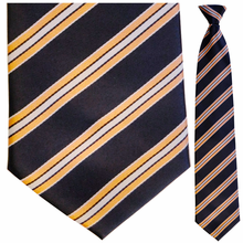 Mens Navy + Melon Stripe Clip On Tie