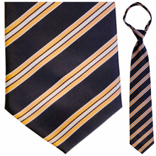 "Mens Woven Navy with Melon Stripes 21"" Zipper Tie"