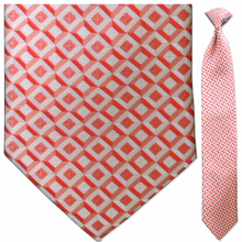 Men's Orange Diamond Grid Pattern Clip-On Tie