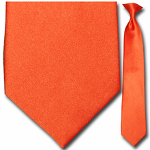 Mens Solid Orange Clip-On Tie
