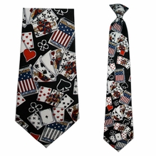Mens Poker Theme Clip On Necktie