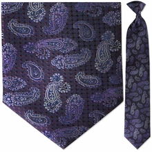 Mens Woven Purple Paisley Clip-On Tie
