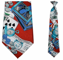 Mens Red Casino Theme Clip On Necktie