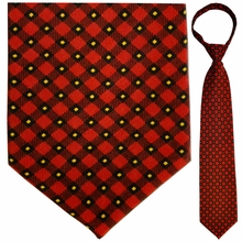 "Mens Red Plaid 19"" Zipper Tie"