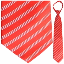 "Mens Woven Red with White & Blue Pin Stripes 19"" Zipper TIe"