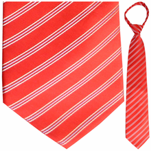 "Mens Woven Red with White & Blue Pin Stripes 21"" Zipper Tie"