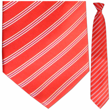 Mens Red w/ White + Blue Pin Stripes Clip On Tie