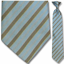 Men's Silk Woven Blue + Brown Stripe Clip On Tie