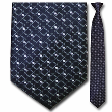 Men's Silk Narrow Black Pattern Clip On Tie