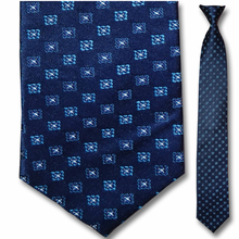 Men's Silk Narrow Navy Pattern Clip On Tie