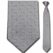 Men's Silk Narrow Grey Pattern Clip-On Tie