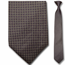Men's Silk Narrow Grey w/ Purple Diamonds Pattern Clip On Tie
