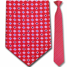 Men's Silk Narrow Red Diamonds Pattern Clip On Tie
