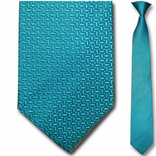 Men's Silk Narrow Turquoise Pattern Clip On Tie