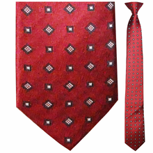Men's Skinny Woven Silk Red Pattern Clip-On Tie