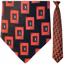 Mens Silk Woven Black & Red Box Pattern Tie