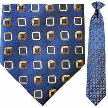 Mens Silk Woven Blue w/ Gold Boxes Pattern Clip-On Tie