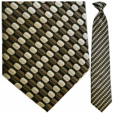 Mens Silk Woven Brown Oval Pattern Tie