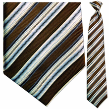 Mens Silk Woven Brown/White/Blue Stripe Tie