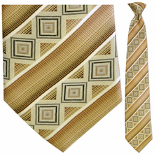 Mens Silk Woven Dark Goldenrod Stripe Pattern Tie