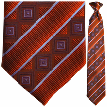 Mens Silk Woven Red Stripe Tie