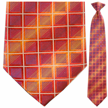 Mens Silk Woven Red + Yellow Box Pattern Clip On Tie