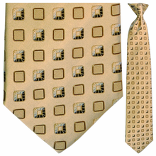 Mens Silk Woven Tan Boxes Pattern Tie