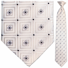 Mens Silk Woven White Squares Pattern Tie