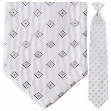 Mens Silk Woven White with Black Diamonds Pattern Tie