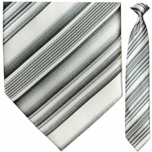 Men's Woven Silver + White Striped Necktie