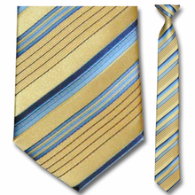 Men's Skinny Gold + Blue Striped Clip-On Tie