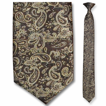 Men's Skinny Woven Brown + Gold Paisley Clip-On Tie