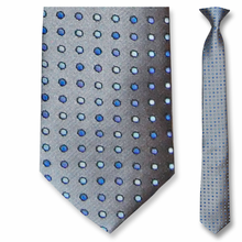 Men's Skinny Woven Grey w/ Blue Dots Pattern Clip-On Tie