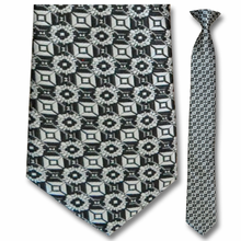 Men's Skinny Woven Monochrome Pattern Clip-On Tie