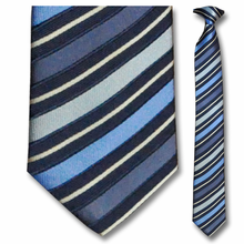 Men's Skinny Woven Silk Blue + Grey Stripe Clip-On Tie
