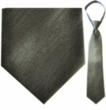 "Mens Solid Grey 21"" Zipper Tie"