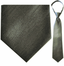 "Mens Solid Grey 19"" Zipper Tie"