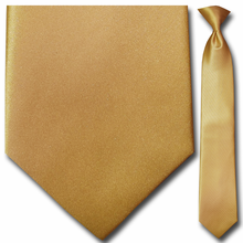 Mens Solid Gold Clip-On Tie