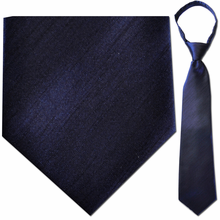 "Mens Solid Navy 21"" Zipper Tie"