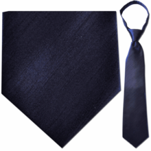 "Mens Solid Navy 23"" Zipper Tie"