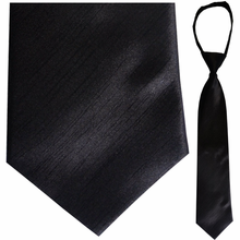 "Mens Solid Satin Black 21"" Zipper Tie"